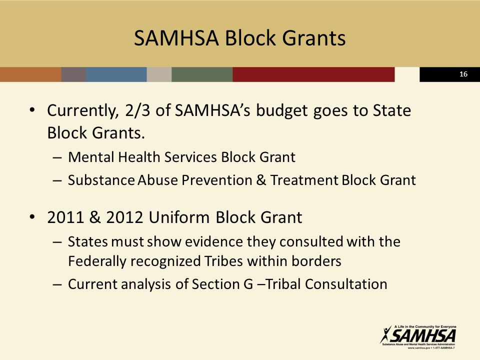16 SAMHSA Block Grants Currently, 2/3 of SAMHSA's budget goes to State Block Grants.