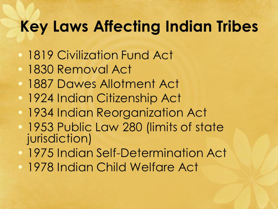 Federal Policies of the 1800s American history and federal policy have impacted Indian tribes since first contact.