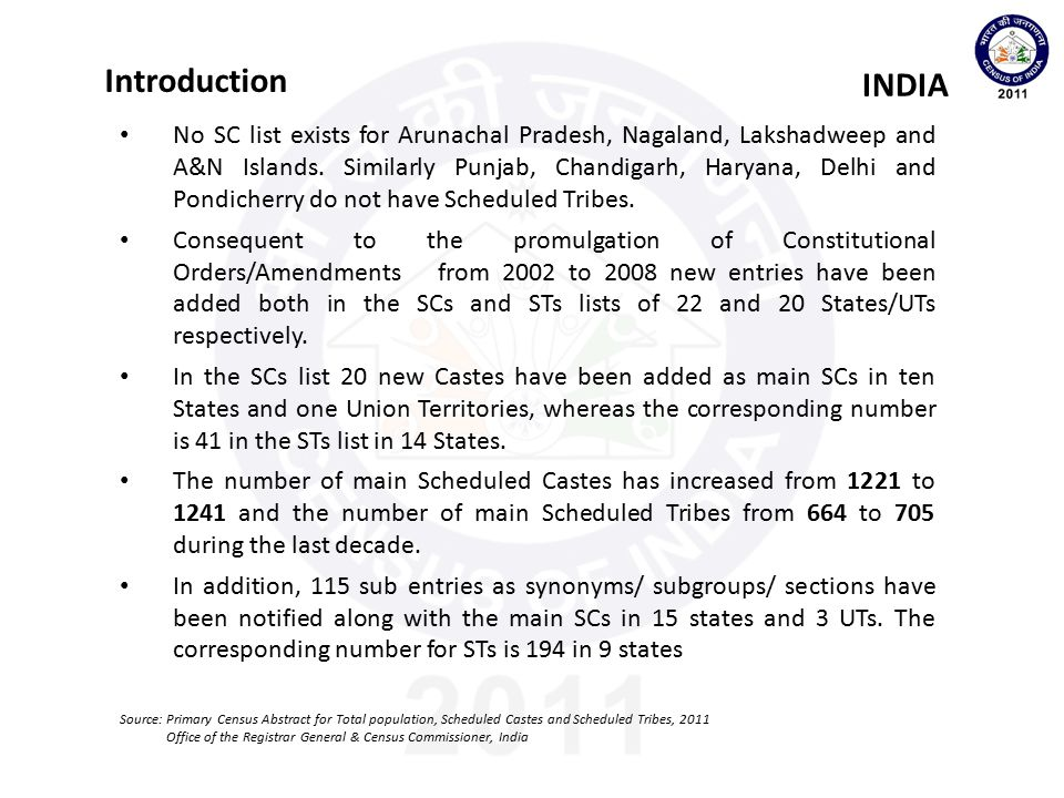Questions canvassed INDIA Source: Primary Census Abstract for Total population, Scheduled Castes and Scheduled Tribes, 2011 Office of the Registrar General & Census Commissioner, India Q.8: Scheduled Caste(SC)/Scheduled Tribe(ST) 8(a): Is this person SC/ST.