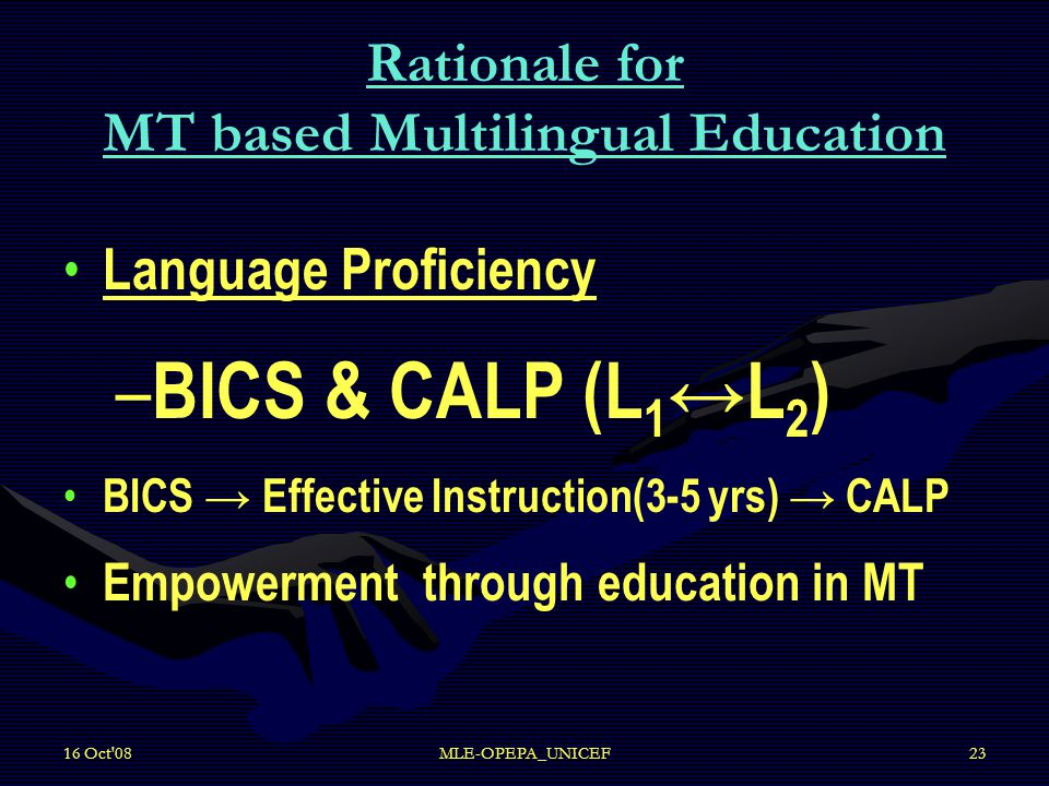 16 Oct 08MLE-OPEPA_UNICEF23 Rationale for MT based Multilingual Education Language Proficiency – – BICS & CALP (L 1 ↔L 2 ) BICS → Effective Instruction(3-5 yrs) → CALP Empowerment through education in MT
