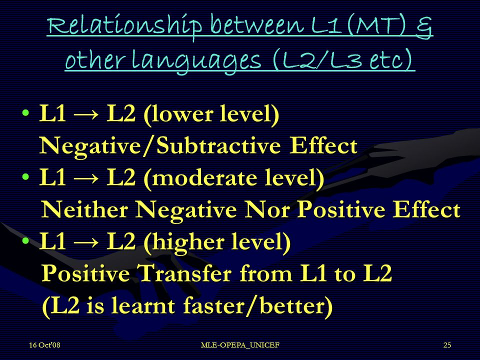 16 Oct'08MLE-OPEPA_UNICEF25 Relationship between L1(MT) & other languages (L2/L3 etc) L1 → L2 (lower level) Negative/Subtractive EffectL1 → L2 (lower