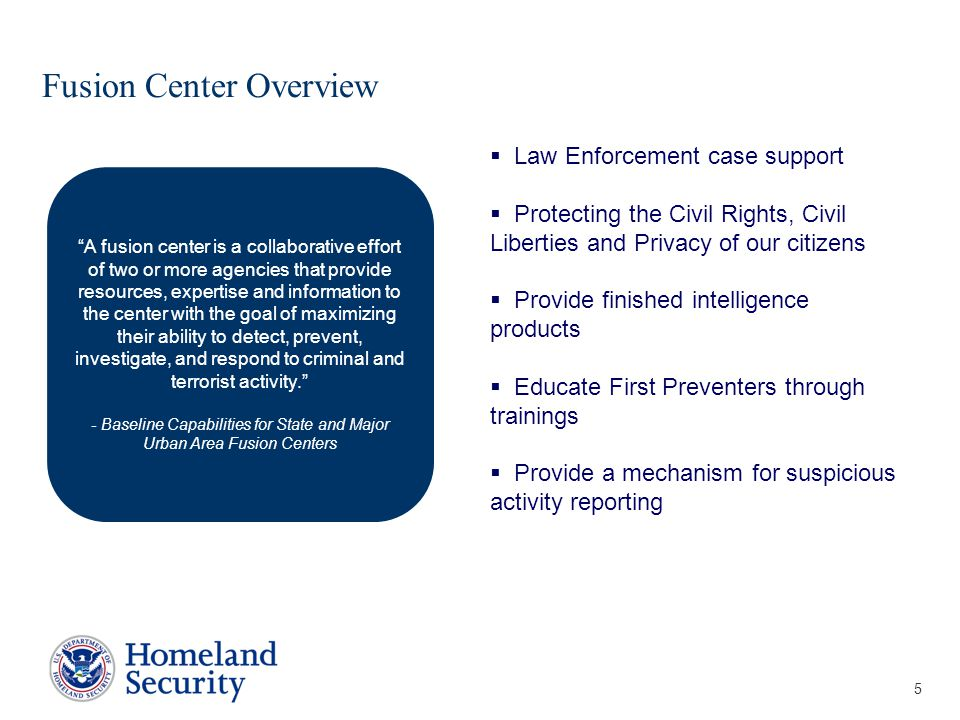 Presenter's Name June 17, 2003 Fusion Center Overview 5 California Virginia New York  Law Enforcement case support  Protecting the Civil Rights, Civil Liberties and Privacy of our citizens  Provide finished intelligence products  Educate First Preventers through trainings  Provide a mechanism for suspicious activity reporting A fusion center is a collaborative effort of two or more agencies that provide resources, expertise and information to the center with the goal of maximizing their ability to detect, prevent, investigate, and respond to criminal and terrorist activity. - Baseline Capabilities for State and Major Urban Area Fusion Centers