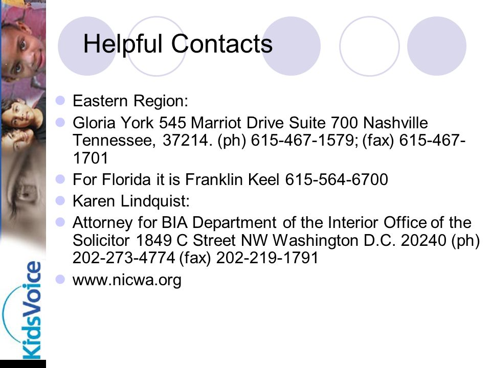 Helpful Contacts Eastern Region: Gloria York 545 Marriot Drive Suite 700 Nashville Tennessee, 37214.