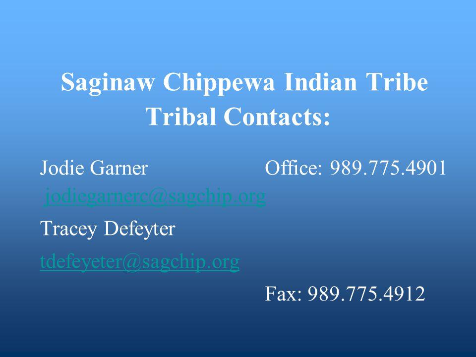 Saginaw Chippewa Indian Tribe Tribal Contacts: Jodie Garner Office: 989.775.4901 jodiegarnerc@sagchip.org jodiegarnerc@sagchip.org Tracey Defeyter tdefeyeter@sagchip.org Fax: 989.775.4912