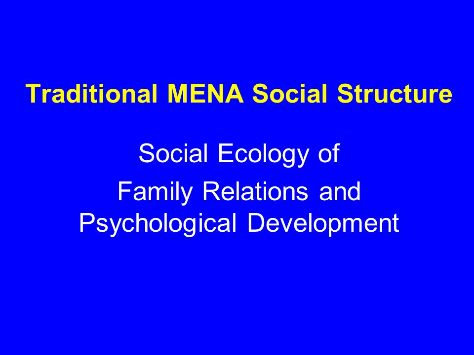 Traditional MENA Social Structure Social Ecology of Family Relations and Psychological Development