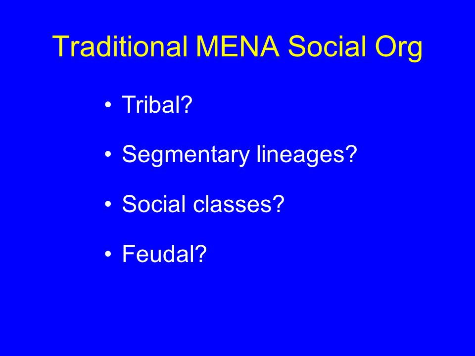 Traditional MENA Social Org Symbiosis: Pastoralism Agriculture City-based crafts & merchants + rulers & religious scholars
