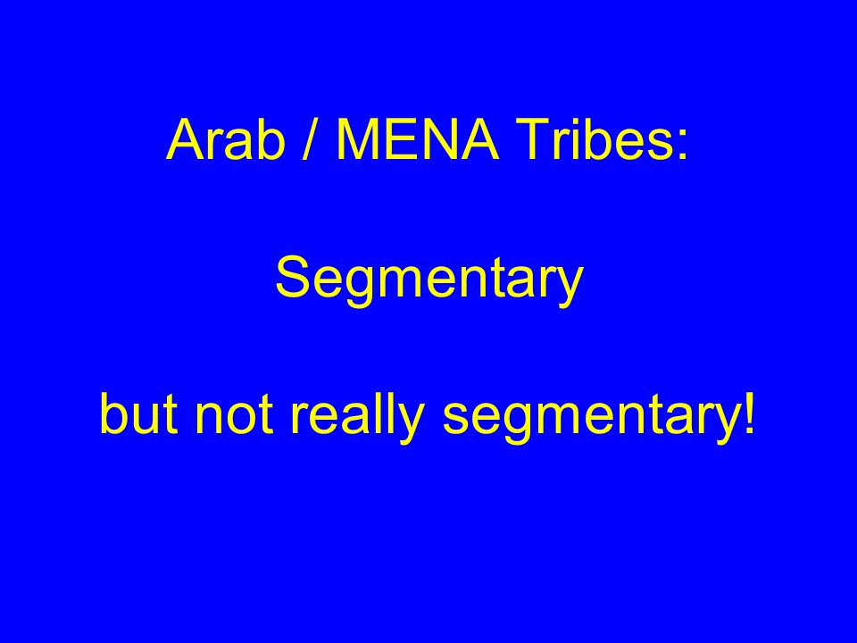 Arab / MENA Tribes: Segmentary but not really segmentary!