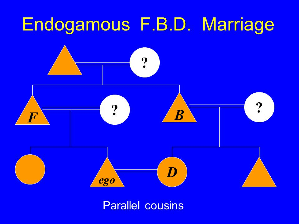 Endogamous F.B.D. Marriage ego B Parallel cousins F D