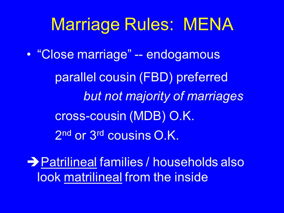 Marriage Rules: MENA Close marriage -- endogamous parallel cousin (FBD) preferred but not majority of marriages cross-cousin (MDB) O.K.