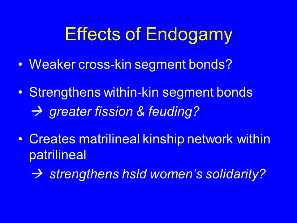 Effects of Endogamy Weaker cross-kin segment bonds.