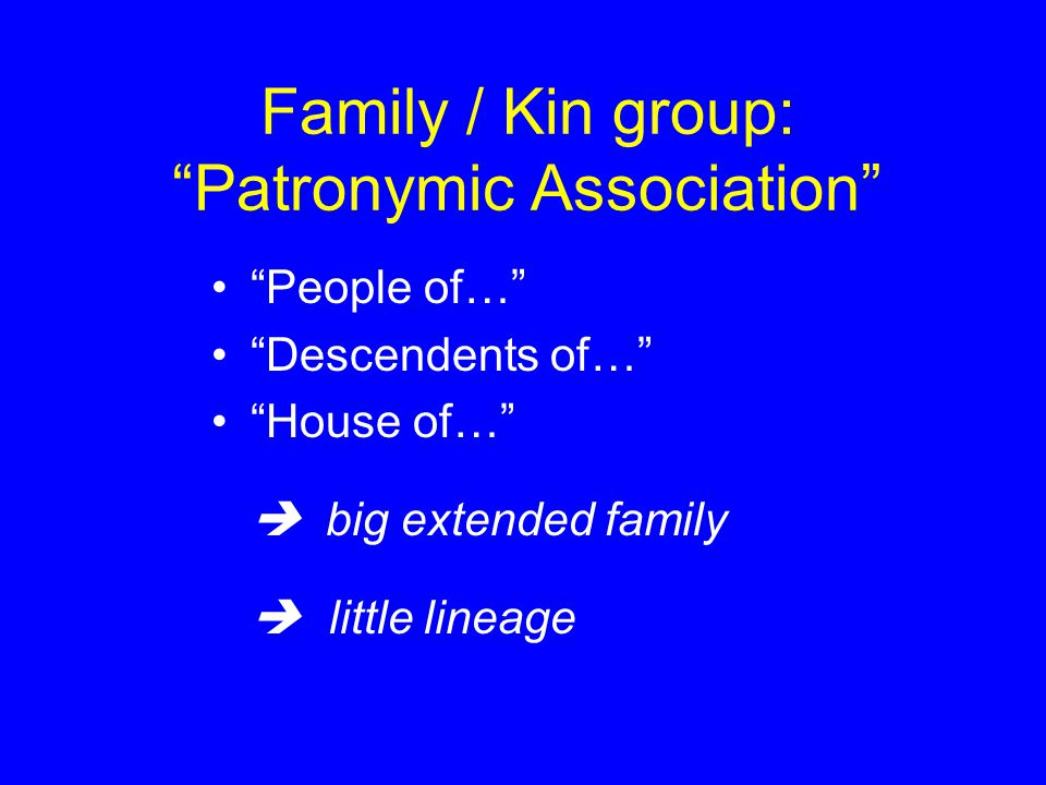 Family / Kin group: Patronymic Association People of… Descendents of… House of…  big extended family  little lineage
