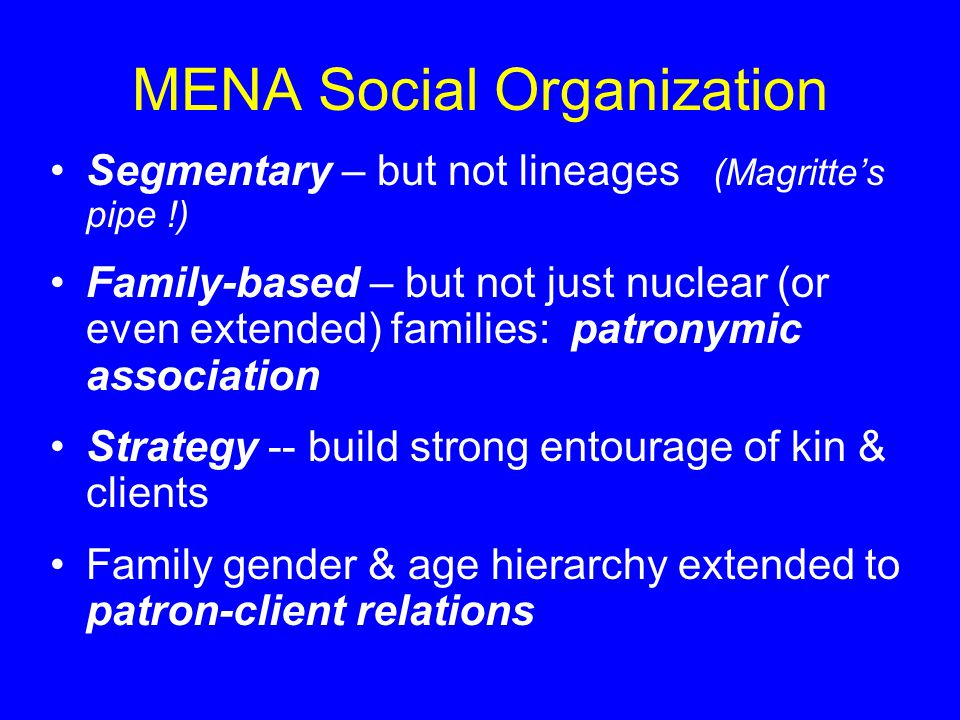 MENA Social Organization Segmentary – but not lineages (Magritte's pipe !) Family-based – but not just nuclear (or even extended) families: patronymic association Strategy -- build strong entourage of kin & clients Family gender & age hierarchy extended to patron-client relations