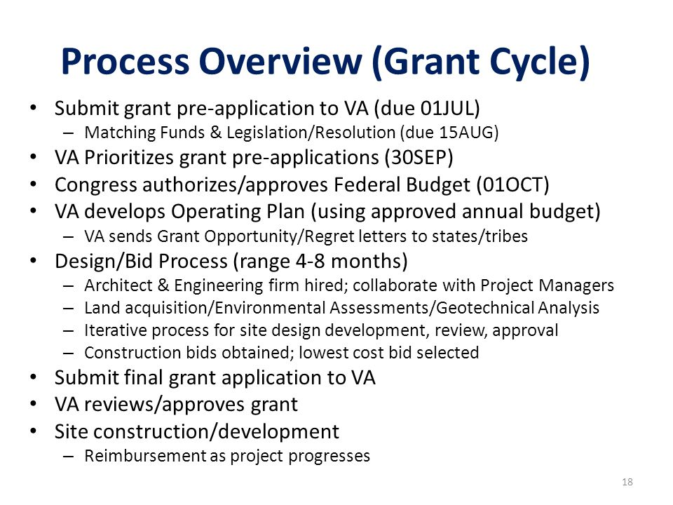 18 Process Overview (Grant Cycle) Submit grant pre-application to VA (due 01JUL) – Matching Funds & Legislation/Resolution (due 15AUG) VA Prioritizes grant pre-applications (30SEP) Congress authorizes/approves Federal Budget (01OCT) VA develops Operating Plan (using approved annual budget) – VA sends Grant Opportunity/Regret letters to states/tribes Design/Bid Process (range 4-8 months) – Architect & Engineering firm hired; collaborate with Project Managers – Land acquisition/Environmental Assessments/Geotechnical Analysis – Iterative process for site design development, review, approval – Construction bids obtained; lowest cost bid selected Submit final grant application to VA VA reviews/approves grant Site construction/development – Reimbursement as project progresses