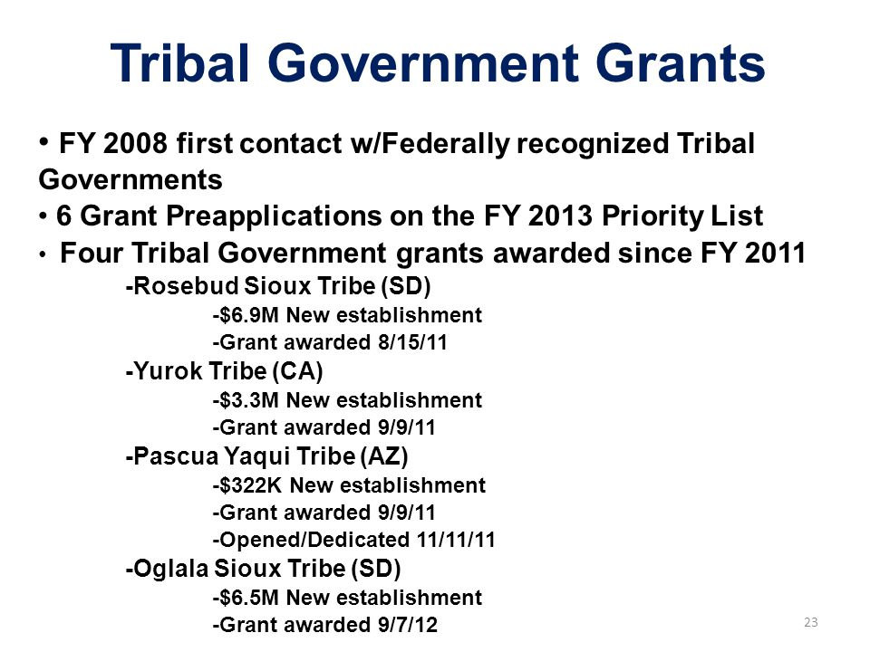 23 FY 2008 first contact w/Federally recognized Tribal Governments 6 Grant Preapplications on the FY 2013 Priority List Four Tribal Government grants awarded since FY 2011 -Rosebud Sioux Tribe (SD) -$6.9M New establishment -Grant awarded 8/15/11 -Yurok Tribe (CA) -$3.3M New establishment -Grant awarded 9/9/11 -Pascua Yaqui Tribe (AZ) -$322K New establishment -Grant awarded 9/9/11 -Opened/Dedicated 11/11/11 -Oglala Sioux Tribe (SD) -$6.5M New establishment -Grant awarded 9/7/12 Tribal Government Grants