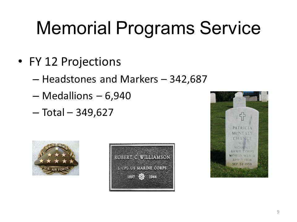 Memorial Programs Service FY 12 Projections – Headstones and Markers – 342,687 – Medallions – 6,940 – Total – 349,627 9