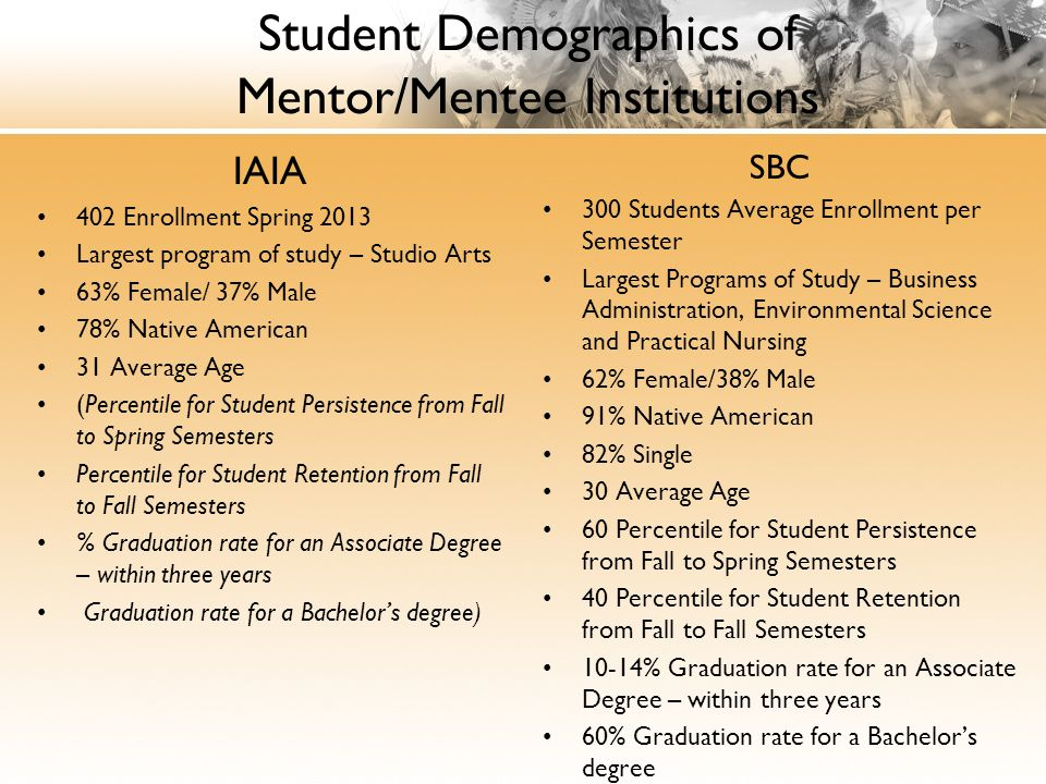 Student Demographics of Mentor/Mentee Institutions IAIA 402 Enrollment Spring 2013 Largest program of study – Studio Arts 63% Female/ 37% Male 78% Native American 31 Average Age (Percentile for Student Persistence from Fall to Spring Semesters Percentile for Student Retention from Fall to Fall Semesters % Graduation rate for an Associate Degree – within three years Graduation rate for a Bachelor's degree) SBC 300 Students Average Enrollment per Semester Largest Programs of Study – Business Administration, Environmental Science and Practical Nursing 62% Female/38% Male 91% Native American 82% Single 30 Average Age 60 Percentile for Student Persistence from Fall to Spring Semesters 40 Percentile for Student Retention from Fall to Fall Semesters 10-14% Graduation rate for an Associate Degree – within three years 60% Graduation rate for a Bachelor's degree
