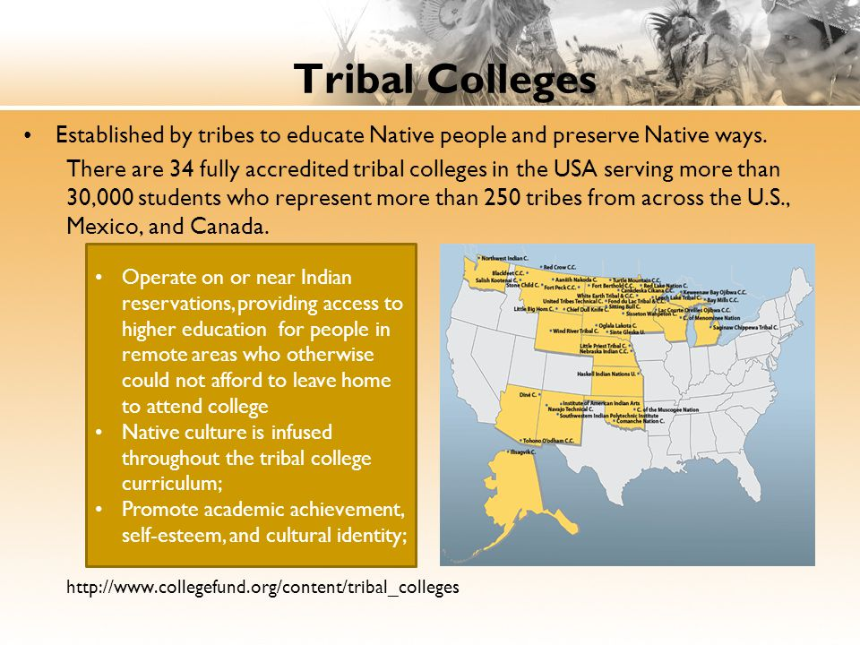 Tribal Colleges Established by tribes to educate Native people and preserve Native ways.