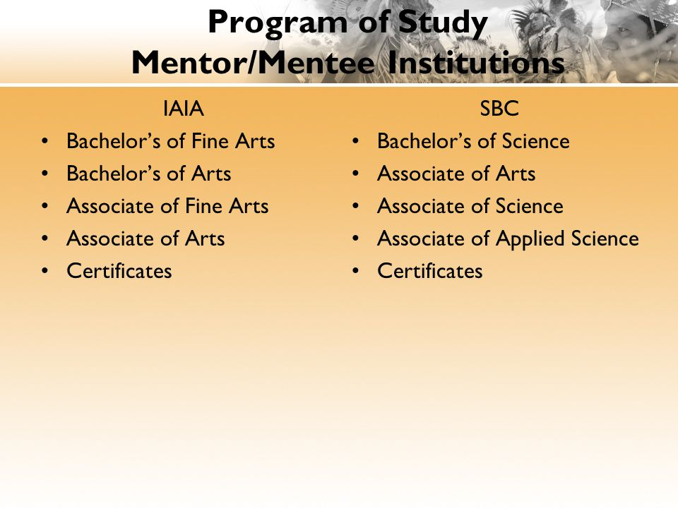 Program of Study Mentor/Mentee Institutions IAIA Bachelor's of Fine Arts Bachelor's of Arts Associate of Fine Arts Associate of Arts Certificates SBC Bachelor's of Science Associate of Arts Associate of Science Associate of Applied Science Certificates