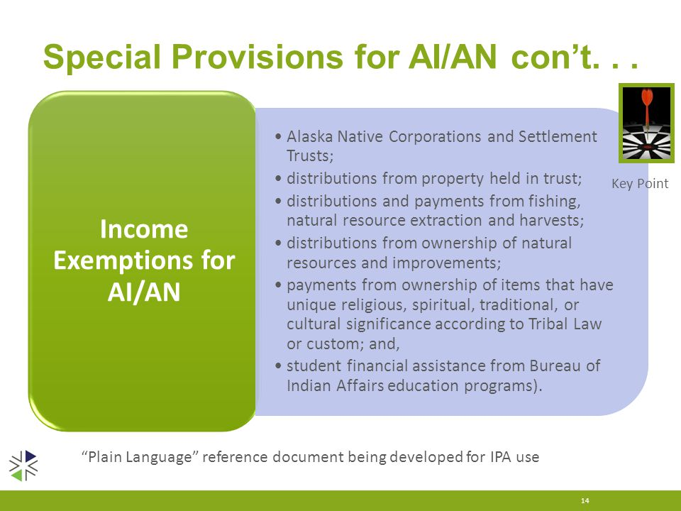 Special Provisions for AI/AN con't... 14 Income Exemptions for AI/AN Alaska Native Corporations and Settlement Trusts; distributions from property hel