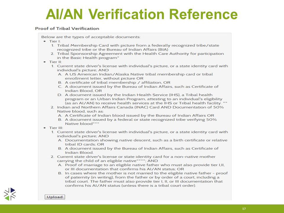 AI/AN Verification Reference 17