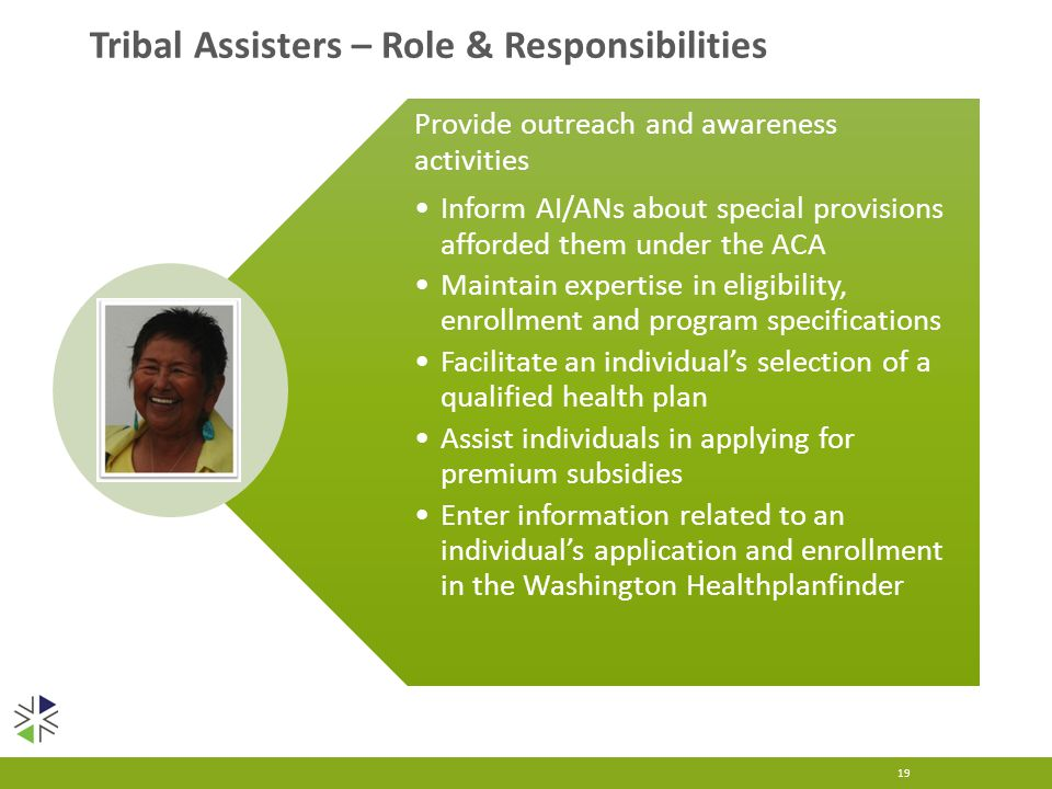 19 Provide outreach and awareness activities Inform AI/ANs about special provisions afforded them under the ACA Maintain expertise in eligibility, enrollment and program specifications Facilitate an individual's selection of a qualified health plan Assist individuals in applying for premium subsidies Enter information related to an individual's application and enrollment in the Washington Healthplanfinder Tribal Assisters – Role & Responsibilities