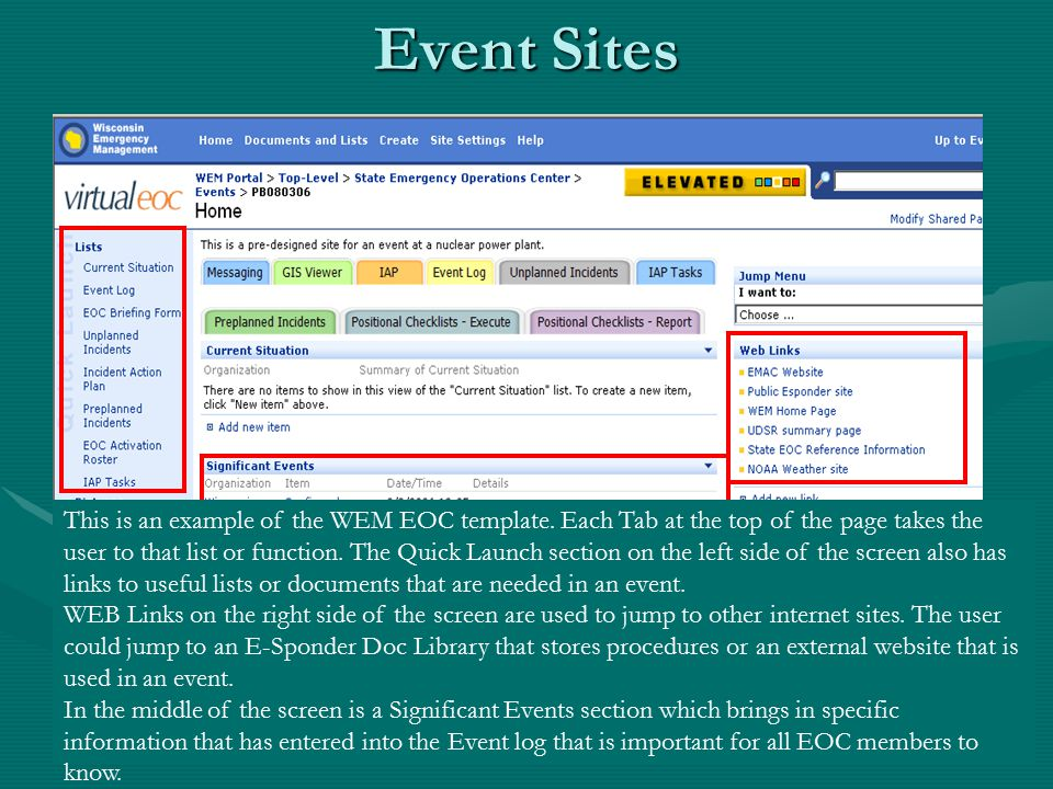 Event Sites This is an example of the WEM EOC template.