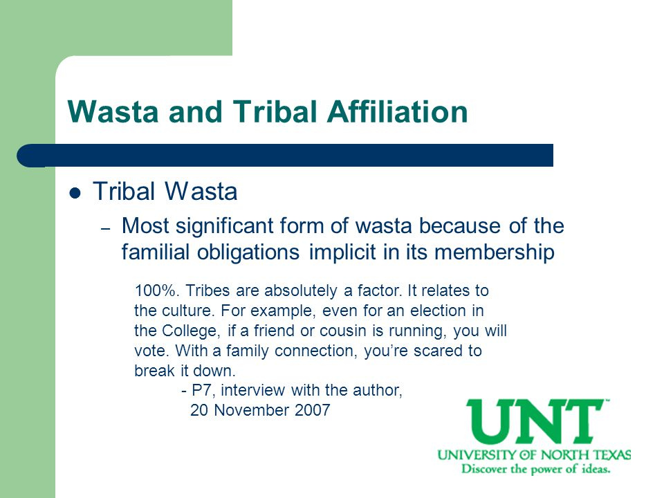 Wasta and Tribal Affiliation Tribal Wasta – Most significant form of wasta because of the familial obligations implicit in its membership 100%.