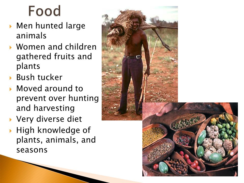  Men hunted large animals  Women and children gathered fruits and plants  Bush tucker  Moved around to prevent over hunting and harvesting  Very diverse diet  High knowledge of plants, animals, and seasons