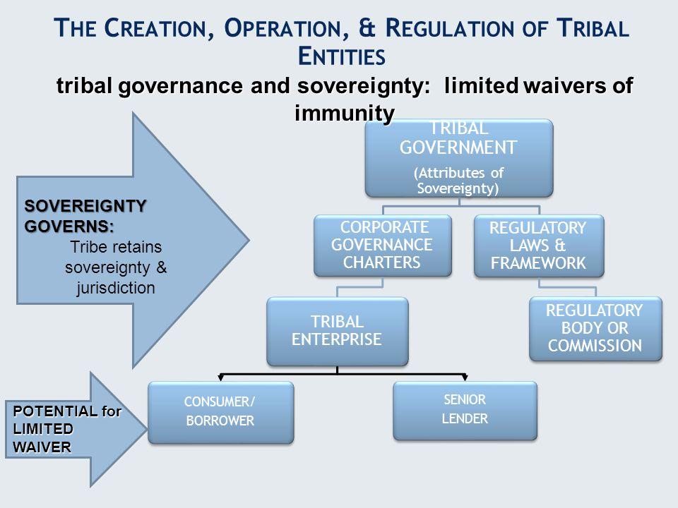 TRIBAL GOVERNMENT (Attributes of Sovereignty) CORPORATE GOVERNANCE CHARTERS TRIBAL ENTERPRISE CONSUMER/ BORROWER SENIOR LENDER REGULATORY LAWS & FRAME