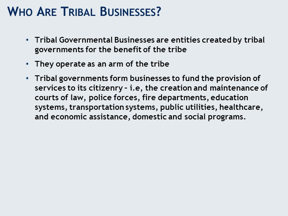 Tribal Governmental Businesses are entities created by tribal governments for the benefit of the tribe They operate as an arm of the tribe Tribal gove