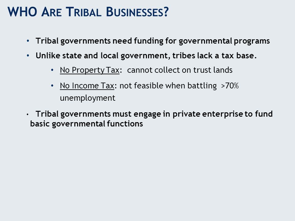 WHO A RE T RIBAL B USINESSES ? Tribal governments need funding for governmental programs Unlike state and local government, tribes lack a tax base. No