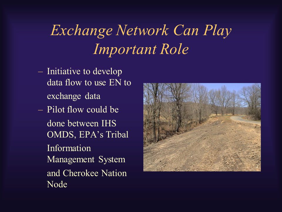 Exchange Network Can Play Important Role –Initiative to develop data flow to use EN to exchange data –Pilot flow could be done between IHS OMDS, EPA's Tribal Information Management System and Cherokee Nation Node