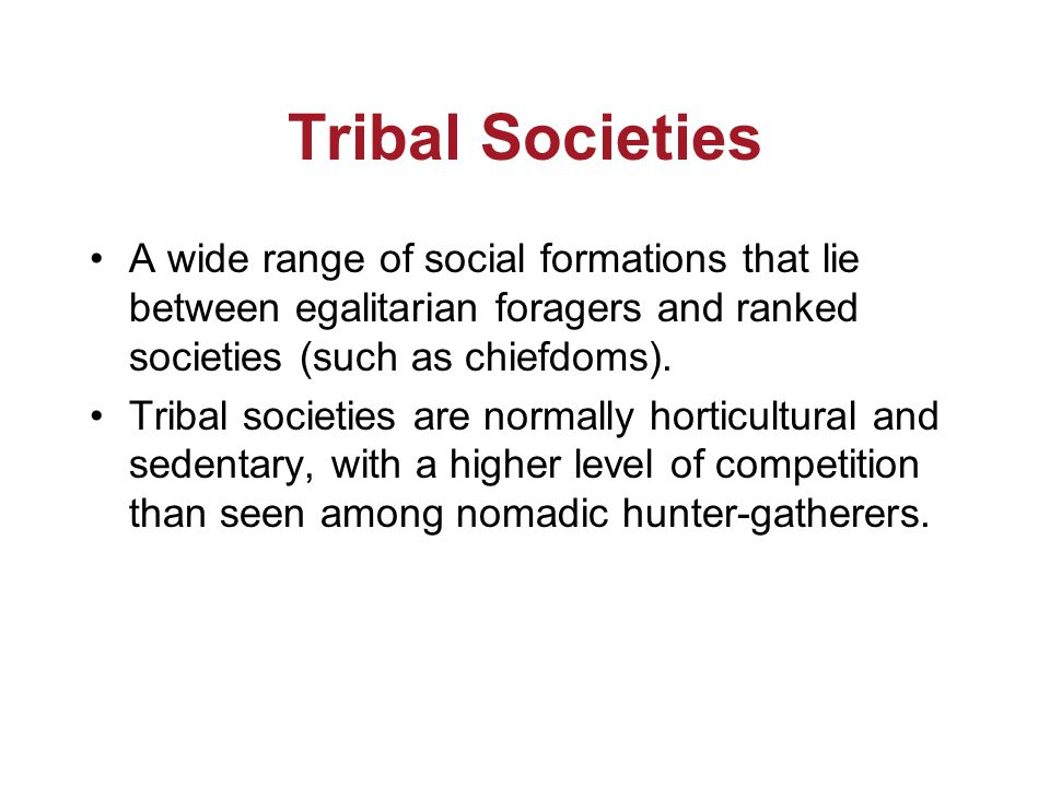 Tribal Societies A wide range of social formations that lie between egalitarian foragers and ranked societies (such as chiefdoms).