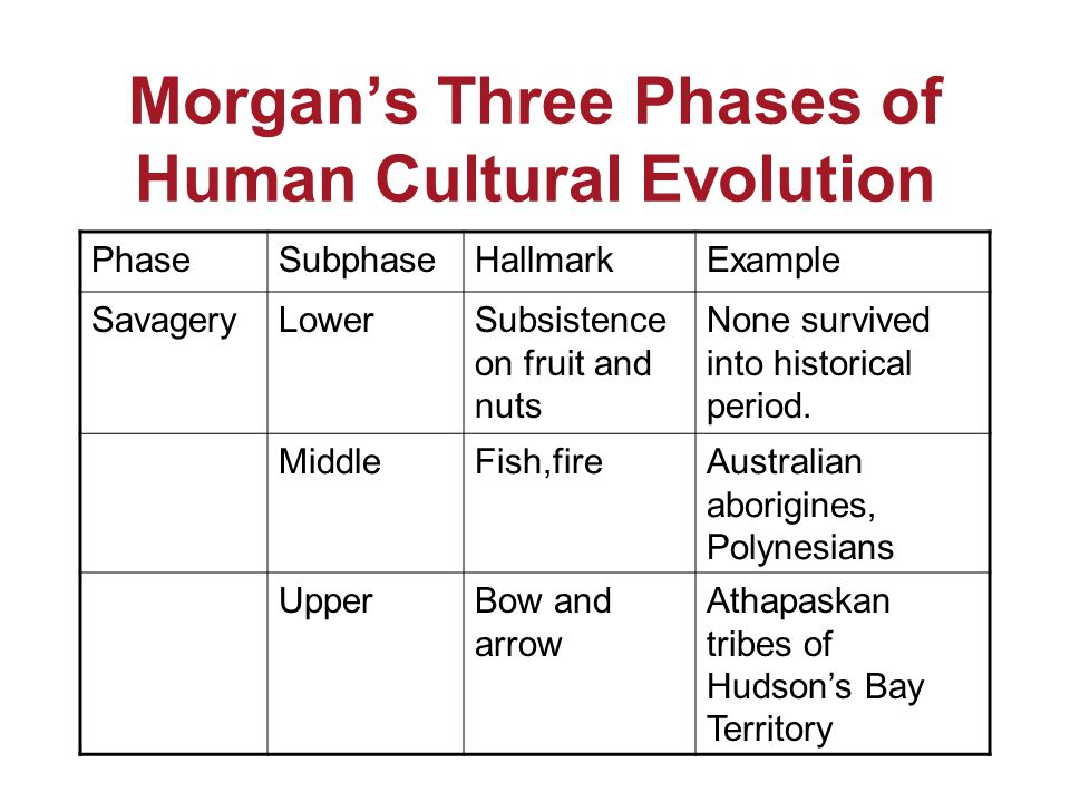 Morgan's Three Phases of Human Cultural Evolution PhaseSubphaseHallmarkExample SavageryLowerSubsistence on fruit and nuts None survived into historical period.