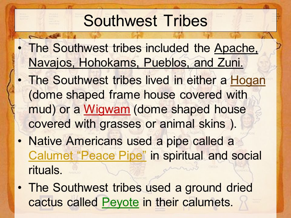 Southwest Tribes The Southwest tribes included the Apache, Navajos, Hohokams, Pueblos, and Zuni.