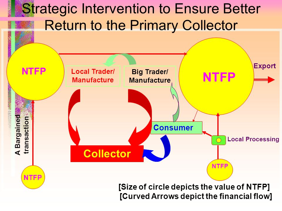 Strategic Intervention to Ensure Better Return to the Primary Collector Export Local Trader/ Manufacture [Curved Arrows depict the financial flow] NTFP Consumer Local Processing A Bargained transaction Collector Big Trader/ Manufacture NTFP [Size of circle depicts the value of NTFP]