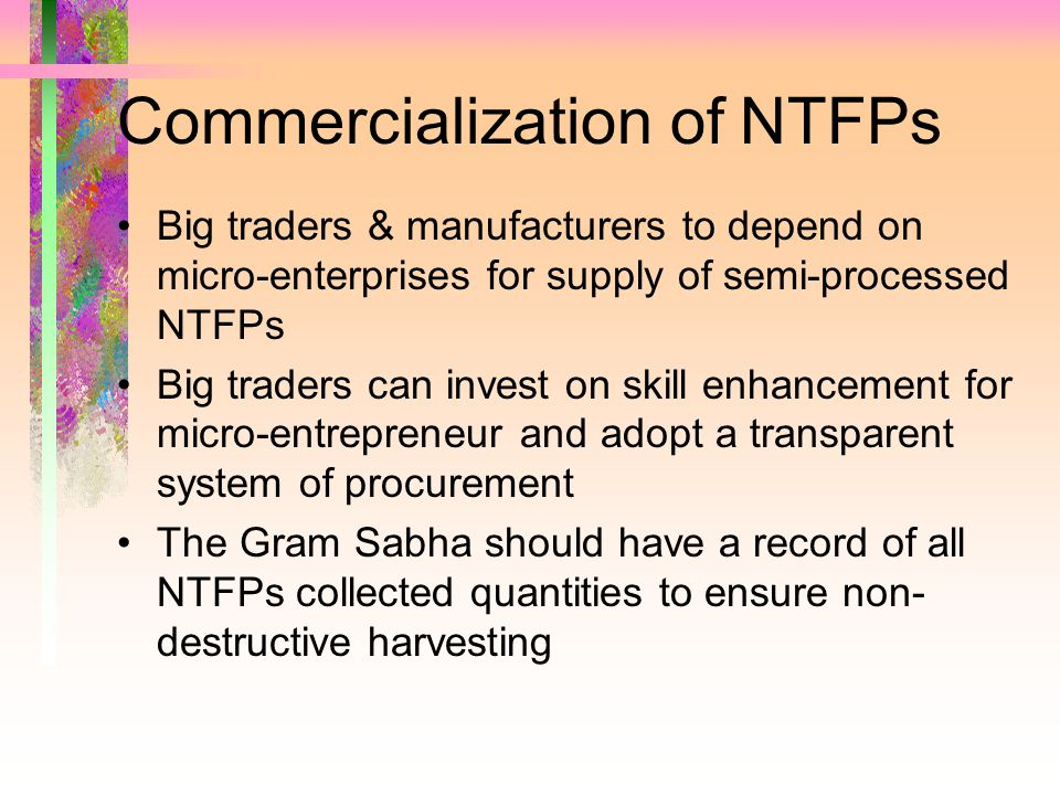 Commercialization of NTFPs Big traders & manufacturers to depend on micro-enterprises for supply of semi-processed NTFPs Big traders can invest on skill enhancement for micro-entrepreneur and adopt a transparent system of procurement The Gram Sabha should have a record of all NTFPs collected quantities to ensure non- destructive harvesting