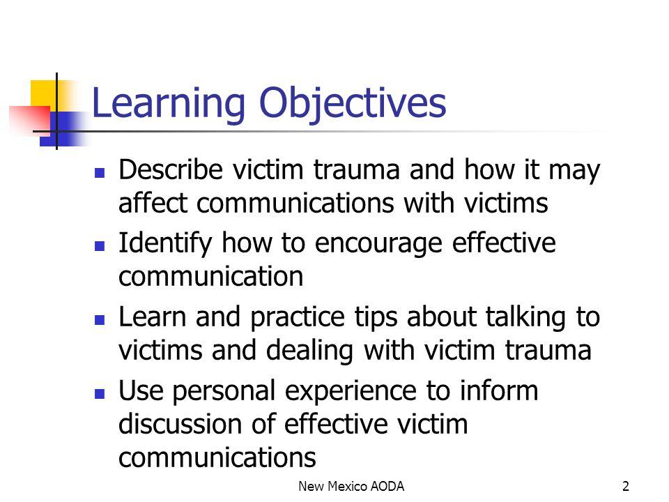 Theory and Victim Trauma Stress theory: developmental, chronic/occupational, and acute.