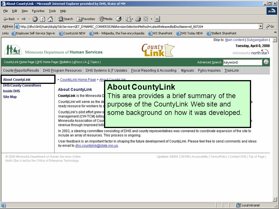 About CountyLink This area provides a brief summary of the purpose of the CountyLink Web site and some background on how it was developed.