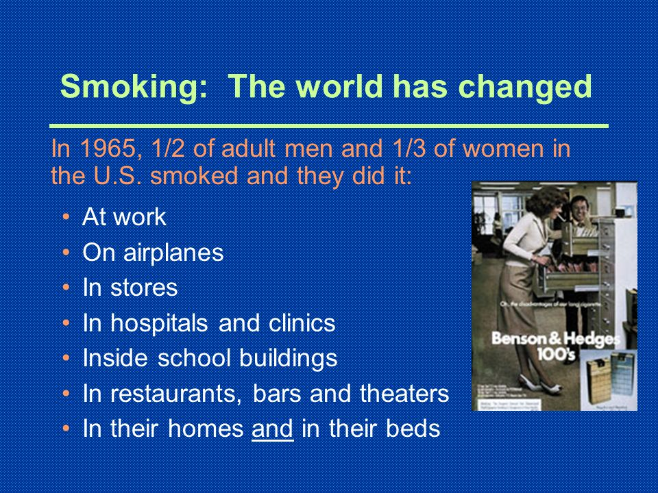 Smoking: The world has changed At work On airplanes In stores In hospitals and clinics Inside school buildings In restaurants, bars and theaters In their homes and in their beds In 1965, 1/2 of adult men and 1/3 of women in the U.S.