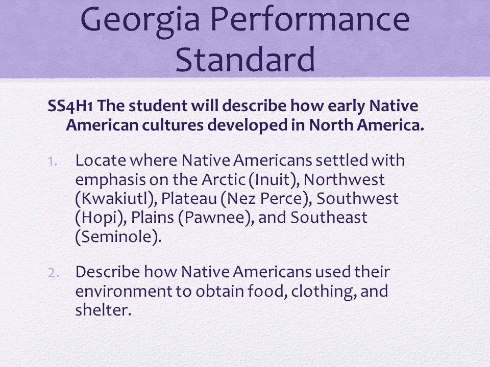 Georgia Performance Standard SS4H1 The student will describe how early Native American cultures developed in North America. 1.Locate where Native Amer