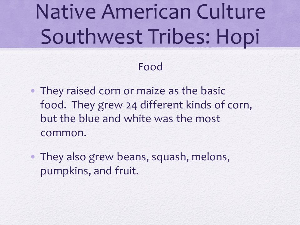 Native American Culture Southwest Tribes: Hopi Food They raised corn or maize as the basic food. They grew 24 different kinds of corn, but the blue an