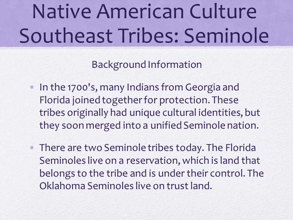 Native American Culture Southeast Tribes: Seminole Background Information In the 1700's, many Indians from Georgia and Florida joined together for pro