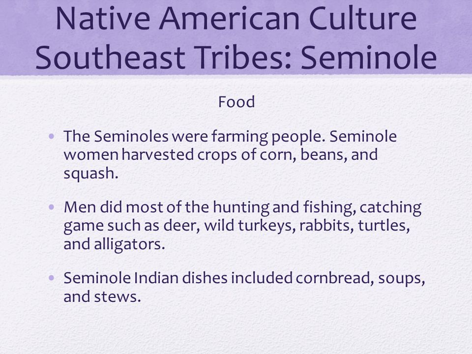 Native American Culture Southeast Tribes: Seminole Food The Seminoles were farming people. Seminole women harvested crops of corn, beans, and squash.