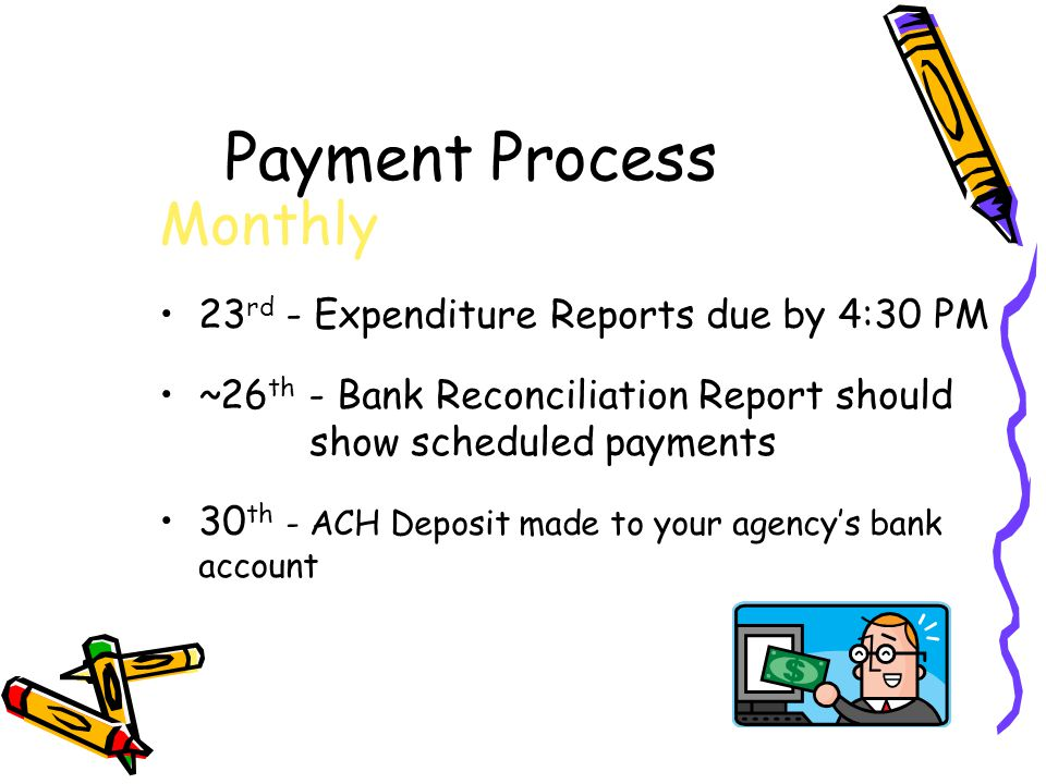 Payment Process Monthly 23 rd - Expenditure Reports due by 4:30 PM ~26 th - Bank Reconciliation Report should show scheduled payments 30 th - ACH Deposit made to your agency's bank account