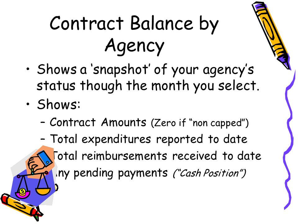 Contract Balance by Agency Shows a 'snapshot' of your agency's status though the month you select.