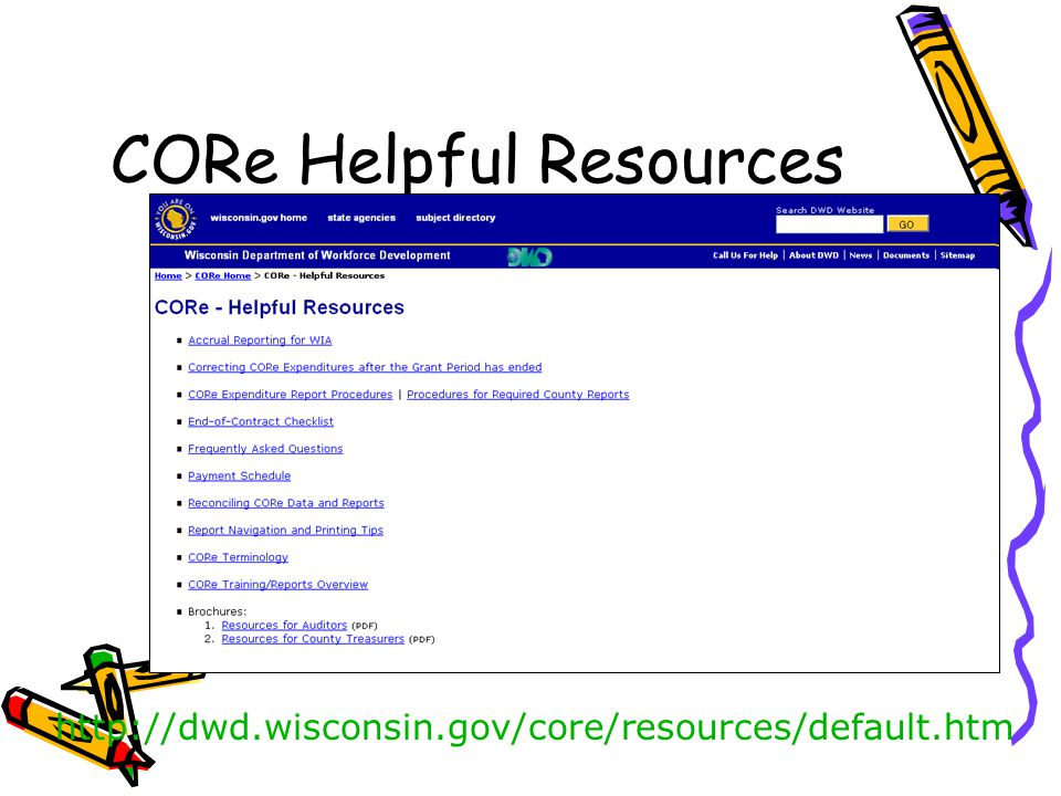 CORe Helpful Resources http://dwd.wisconsin.gov/core/resources/default.htm