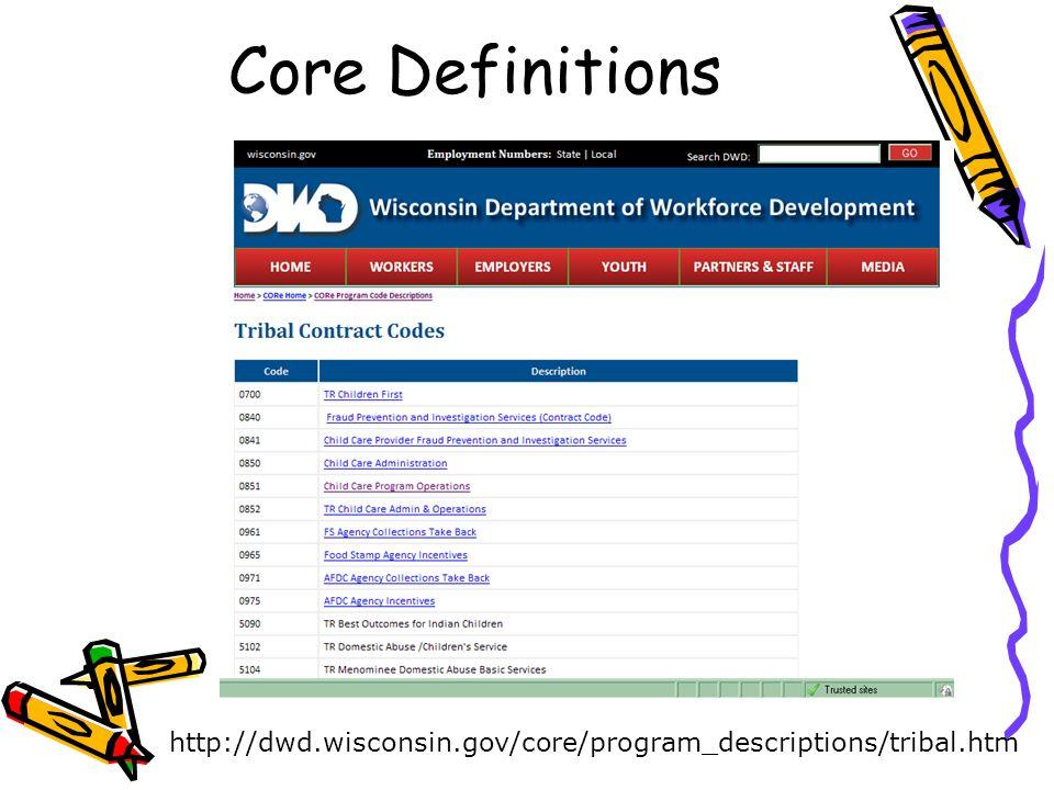 Core Definitions http://dwd.wisconsin.gov/core/program_descriptions/tribal.htm
