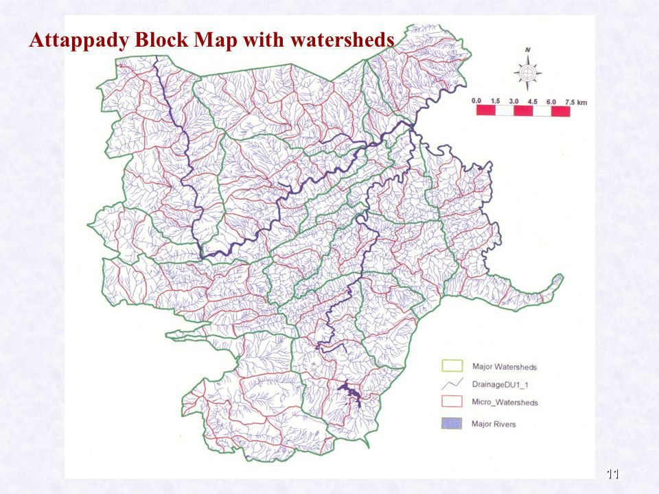 11 Attappady Block Map with watersheds