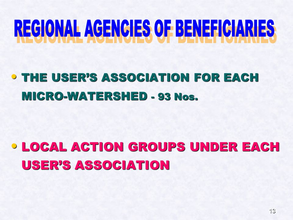 13 THE USER'S ASSOCIATION FOR EACH MICRO-WATERSHED - 93 Nos.